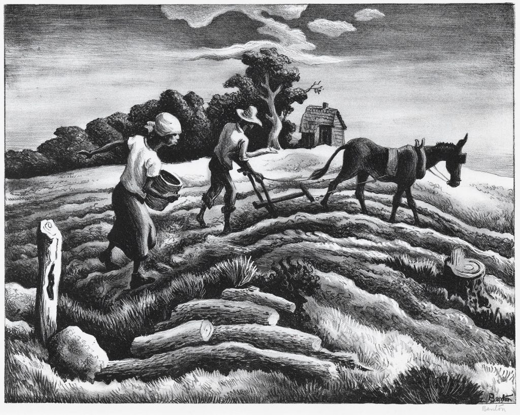 A black and white print of a man with a donkey-drawn plough and a woman working a wavy field with a small house and trees in the background.