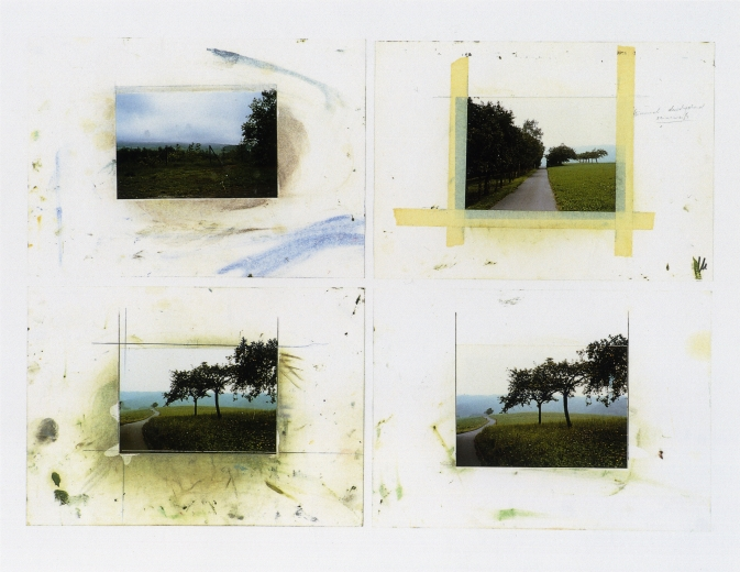 Four photographs of fields with trees, the bottom two almost identical to the painting.