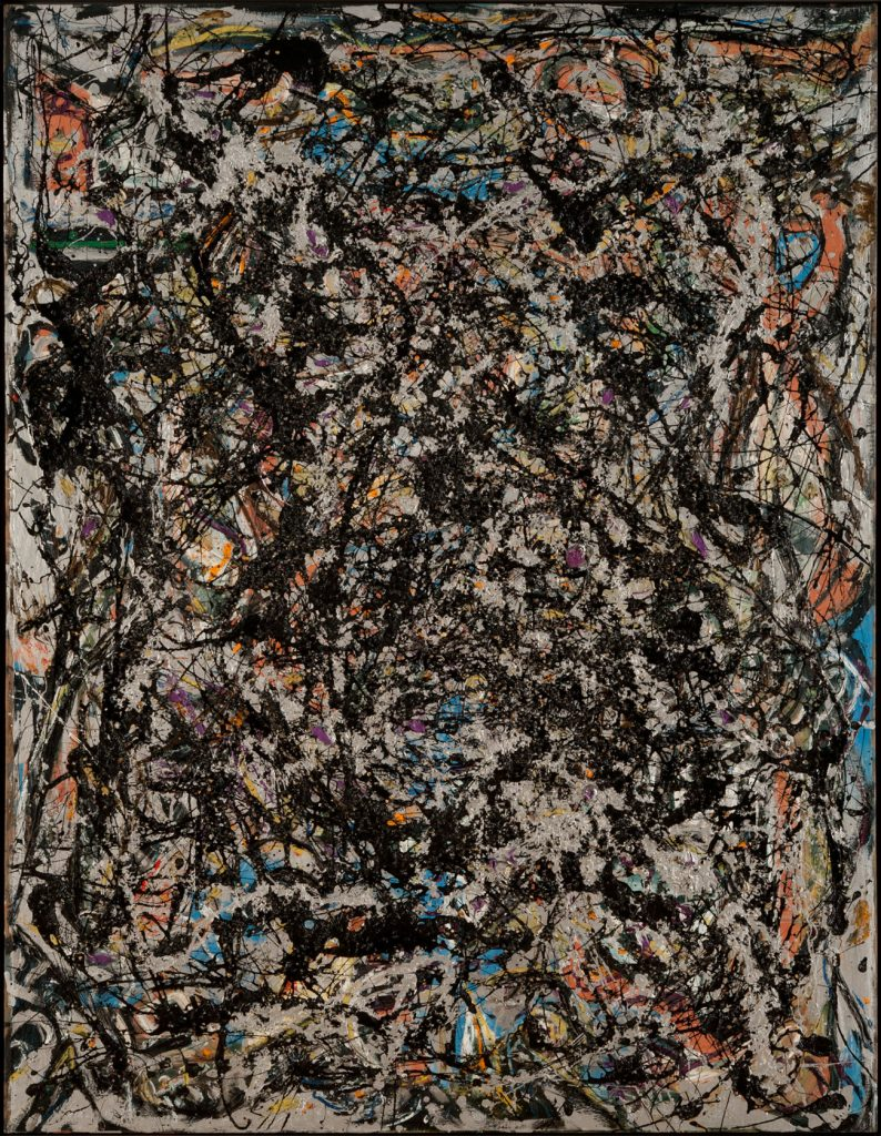 An abstract painting with many curving and jagged lines of black, orange, blue, yellow, and white covering the canvas.