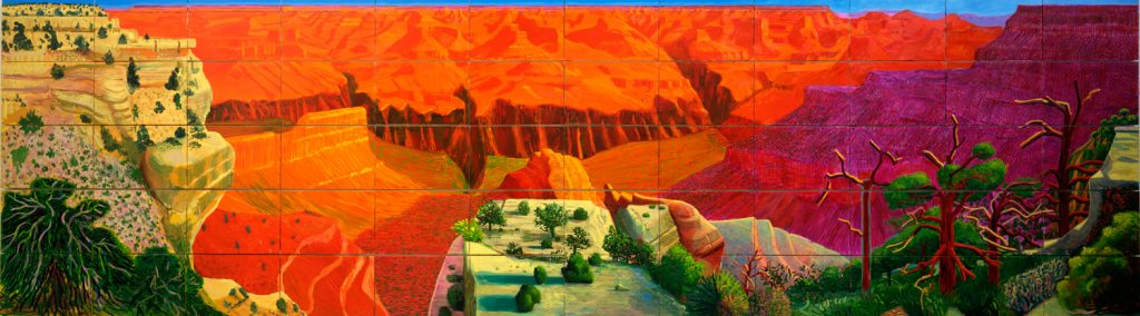 A painting of the Grand Canyon almost identical to the view in the exhibition, but overall brighter in color. In addition, the shape of the dark pink section in the lower left (now orange in color) in more expansive and exaggerated.