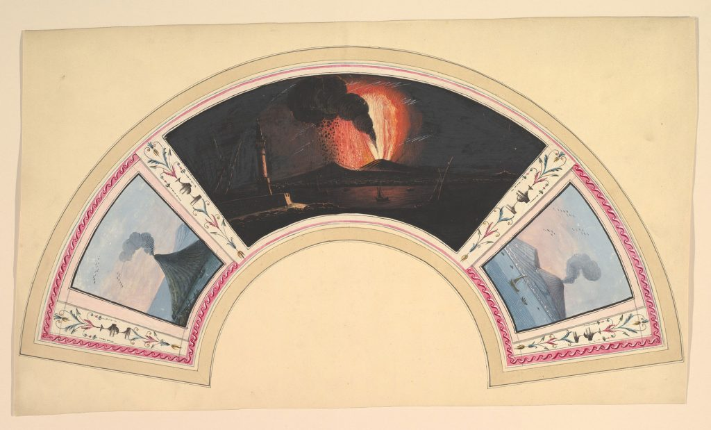 An image of a fan with three depictions of the eruption of Mount Vesuvius. From left to right: a tall mountain with smoke, a shallow mountain in the black of night erupting with a column of lava, and a shallow mountain with a swirl smoke.