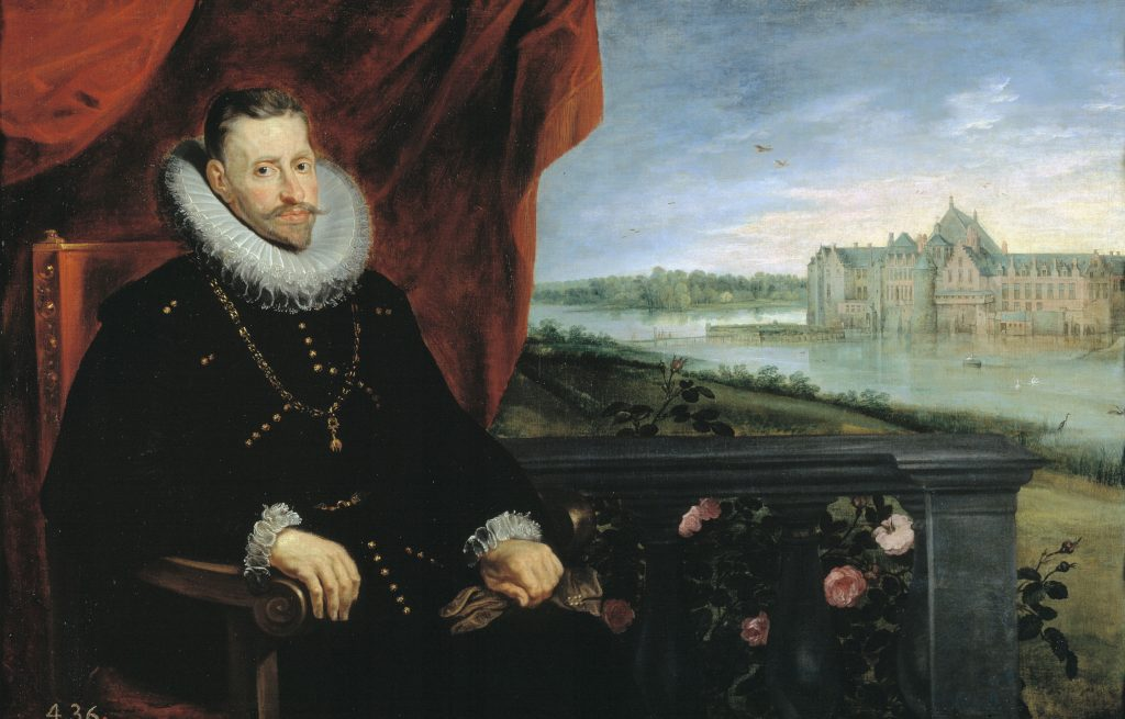 A painting of Archduke Albert, dressed elegantly in black with a large white collar, seated in the foreground on the left, with a palace in the background.