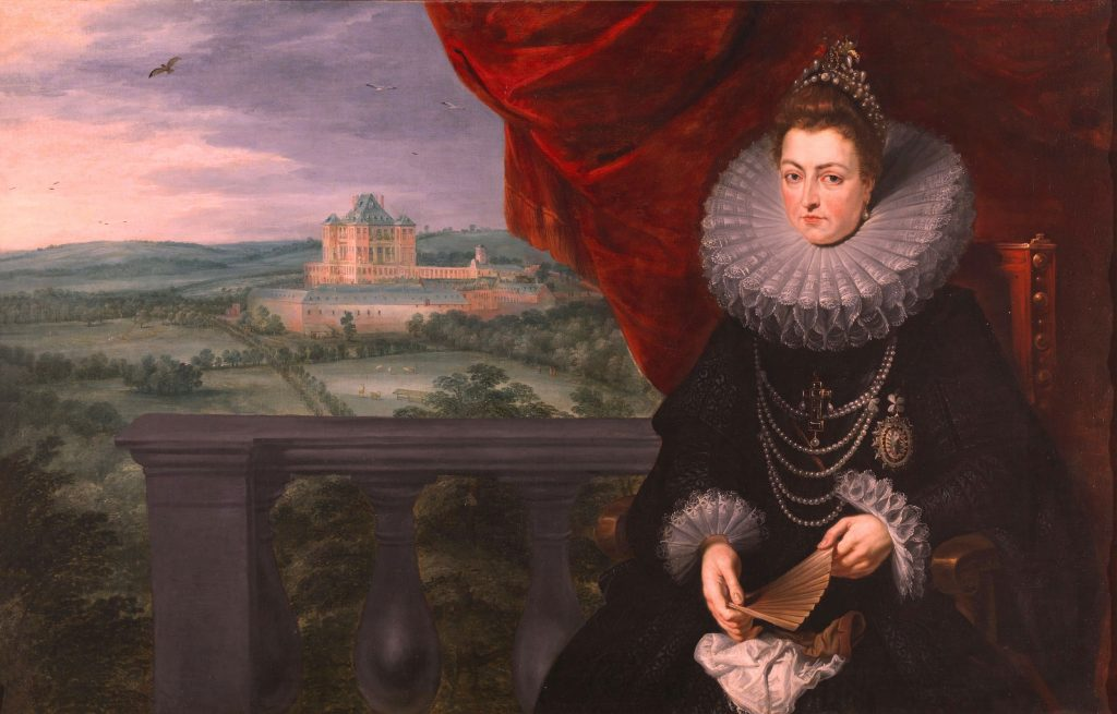 A painting of Archduchess Isabella, dressed elegantly in black with a large white collar, seated in the foreground on the right with a landscape and palace in the background.