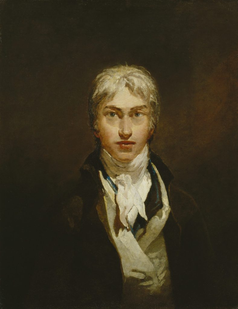 A painting of Turner in front of a medium brown background. He is elegantly dressed in a cream vest and dark brown jacket with a white cravat.